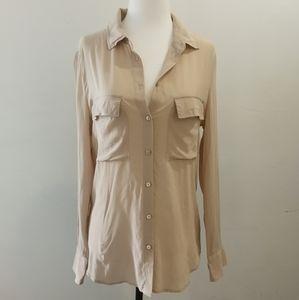 Aritzia Peyton Beige Silk Shirt